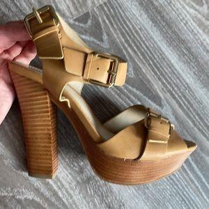 Aldo tan strappy heeled platform sandal